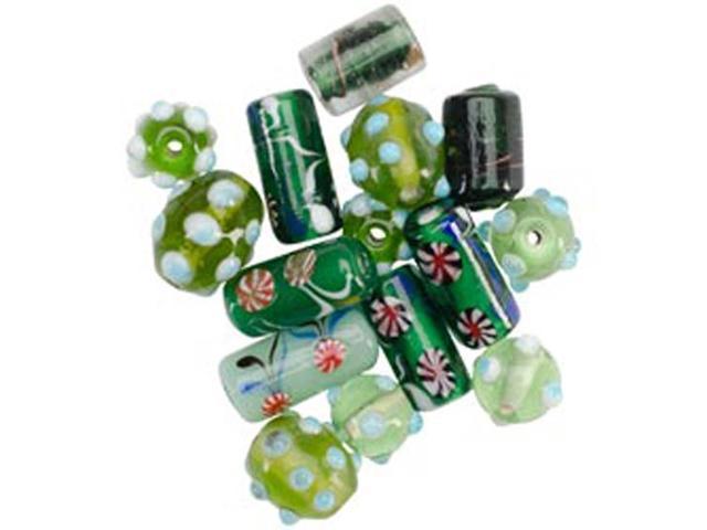Square Tube Glass Bead Mix 2Oz/Pkg-Green Lampwork Mix