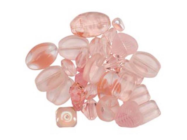 Square Tube Glass Bead Mix 2Oz/Pkg-Sweep Light Pink Mix
