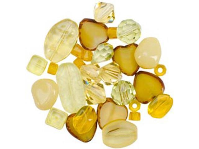 Square Tube Glass Bead Mix 2Oz/Pkg-Sweep Yellow Mix