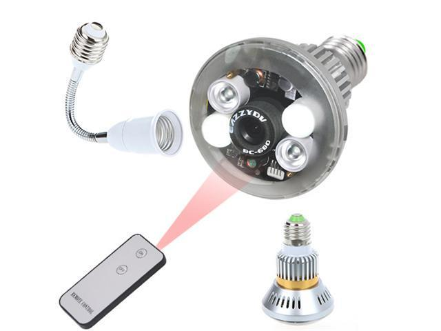 E27 Bulb-Shaped CCTV DVR Camera Security Surveillance with Remote Control LED Light IR Night Vision Micro-SD Card Storage 1/4