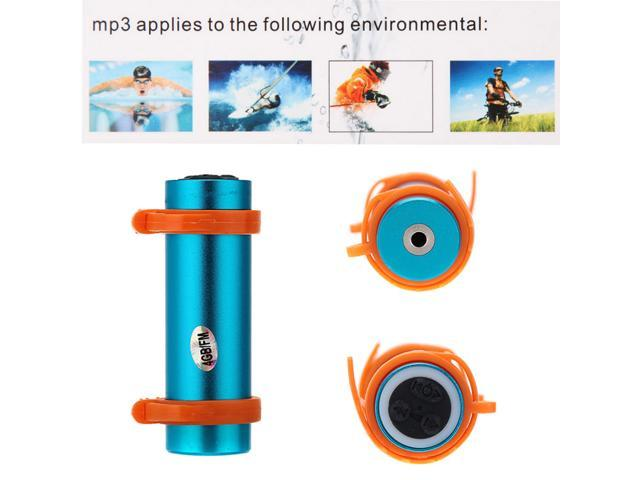 4GB Swimming Diving Water Waterproof MP3 Player FM Radio Earphone Blue