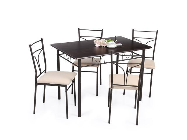 5pcs modern metal frame dining kitchen table chairs set for 4 person