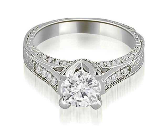1.35 cttw. Antique Cathedral Round Cut Diamond Engagement Ring in 14K White Gold