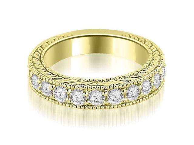 1.10 cttw. Antique Round Cut Diamond Wedding Band in 14K Yellow Gold