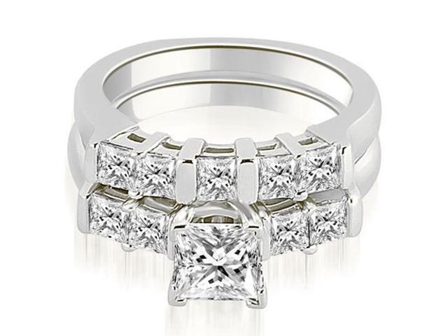 1.50 cttw. Princess Cut Diamond Engagement Bridal Set in Platinum
