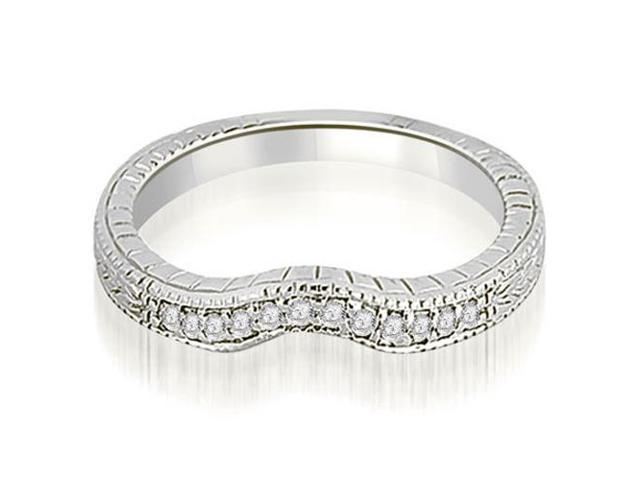 0.15 cttw. Antique Cathedral Round Cut Curve Diamond Wedding Band in Platinum