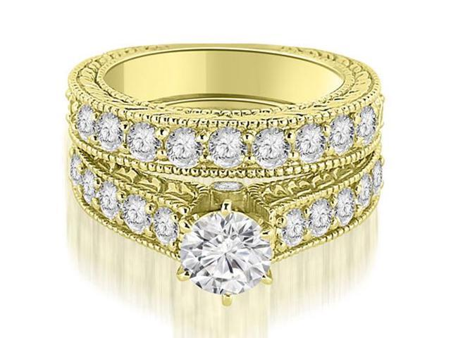 2.65 cttw. Antique Cathedral Round Cut Diamond Engagement Set in 14K Yellow Gold