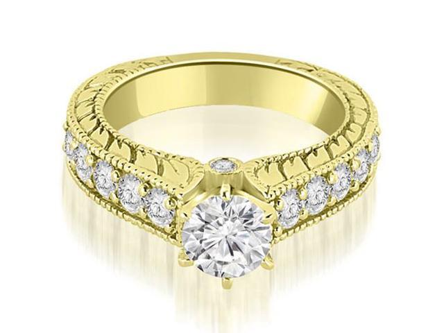1.50 cttw. Antique Cathedral Round Cut Diamond Engagement Ring in 14K Yellow Gold