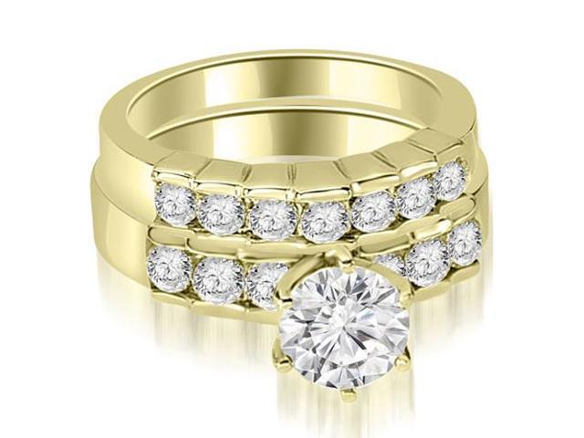 1.55 cttw. Round Cut Diamond Engagement Set in 18K Yellow Gold