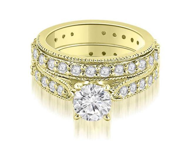 2.00 cttw. Cathedral Round Cut Eternity Diamond Engagement Matching Set in 18K Yellow Gold