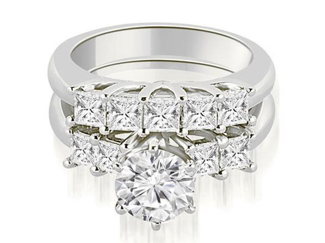 1.35 cttw. Princess and Round Cut Diamond Engagement Bridal Set in Platinum