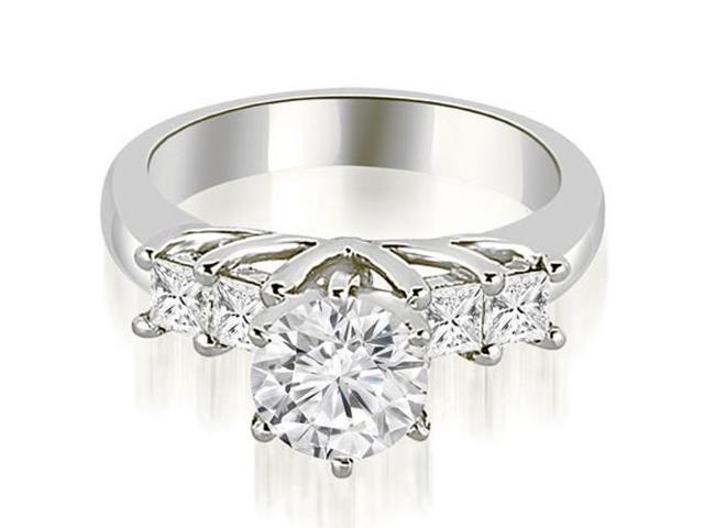 0.85 cttw. Princess and Round Cut Diamond Engagement Ring in Platinum