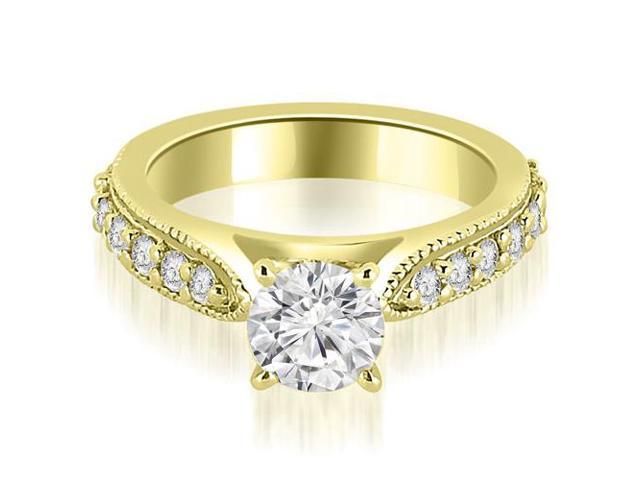 1.15 cttw. Cathedral Round Cut Eternity Diamond Engagement Ring in 14K Yellow Gold