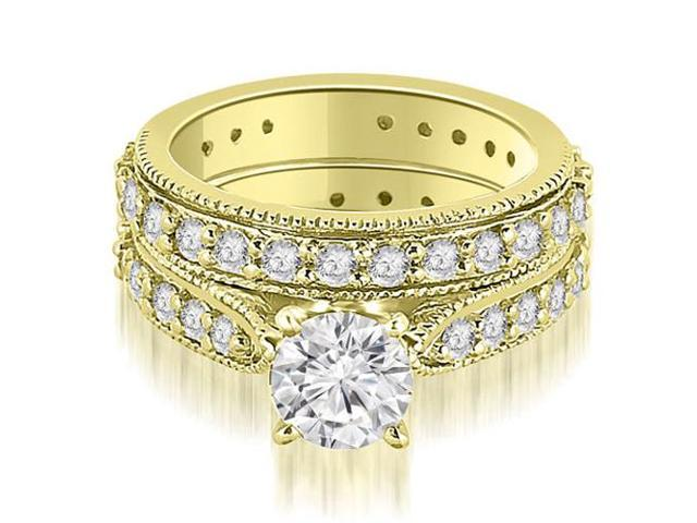 2.25 cttw. Cathedral Round Cut Eternity Diamond Engagement Matching Set in 14K Yellow Gold