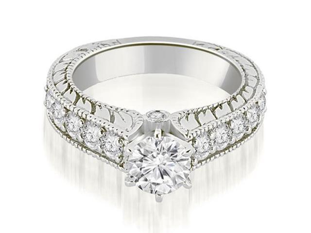 1.55 cttw. Antique Cathedral Round Cut Diamond Engagement Ring in Platinum