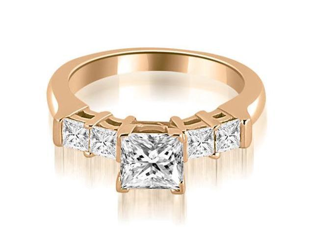 0.85 cttw. Princess Cut Diamond Engagement Ring in 14K Rose Gold
