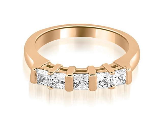0.60 cttw. Five Stone Princess Cut Diamond Wedding Band in 14K Rose Gold