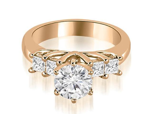 1.40 cttw. Princess and Round Cut Diamond Engagement Ring in 14K Rose Gold