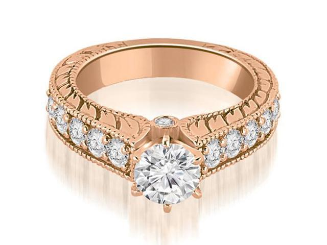 1.50 cttw. Antique Cathedral Round Cut Diamond Engagement Ring in 18K Rose Gold