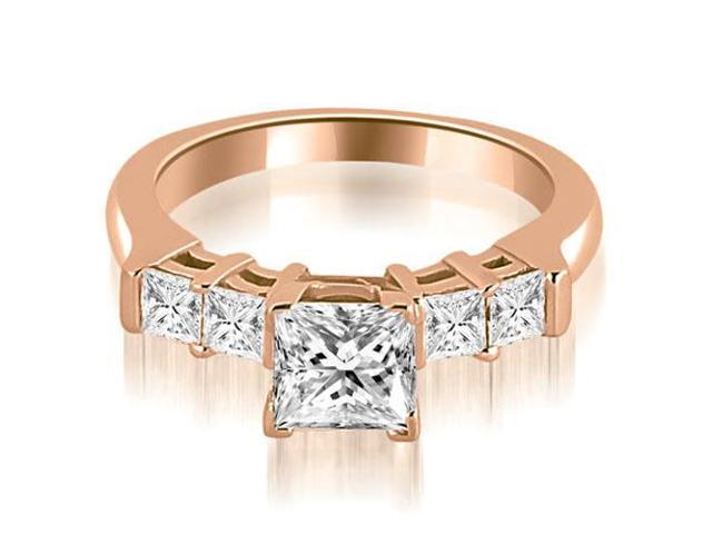 0.85 cttw. Princess Cut Diamond Engagement Ring in 18K Rose Gold