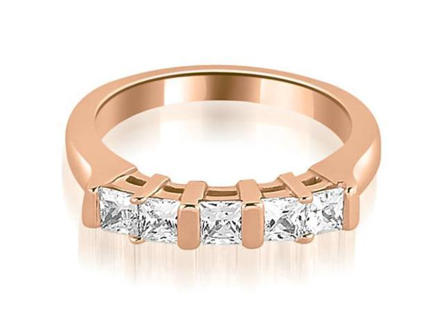 0.60 cttw. Five Stone Princess Cut Diamond Wedding Band in 18K Rose Gold