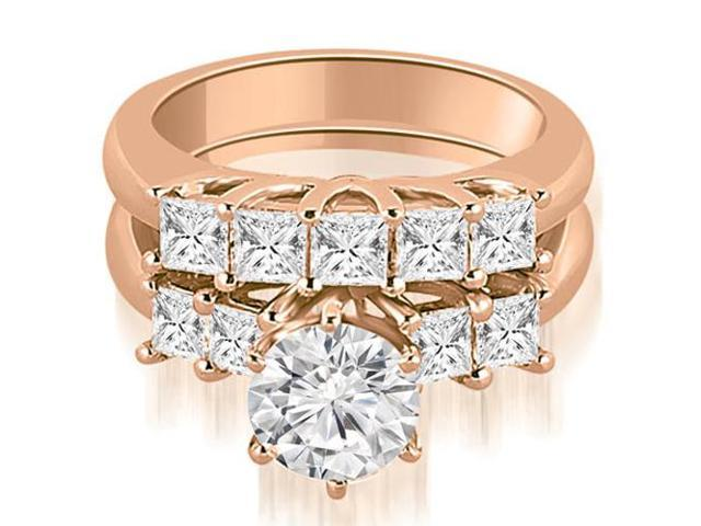 2.00 cttw. Princess and Round Cut Diamond Engagement Bridal Set in 18K Rose Gold