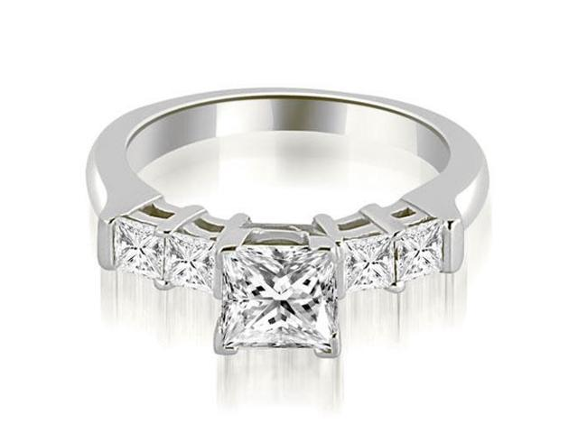 0.90 cttw. Princess Cut Diamond Engagement Ring in 18K White Gold