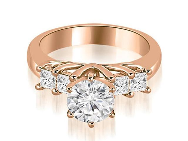 1.15 cttw. Princess and Round Cut Diamond Engagement Ring in 18K Rose Gold
