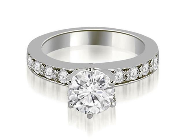 0.90 cttw. Round Cut Diamond Engagement Ring in 14K White Gold