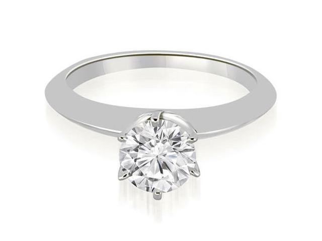 0.75 cttw. Knife Edge Round Cut Solitaire Engagement Ring in 18K White Gold