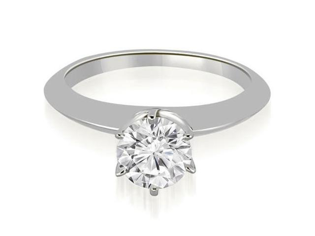 0.35 cttw. Knife Edge Round Cut Solitaire Engagement Ring in 14K White Gold