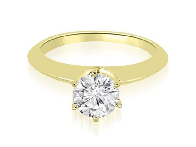 0.75 cttw. Knife Edge Round Cut Solitaire Engagement Ring in 18K Yellow Gold