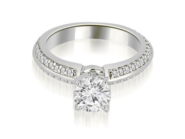 0.90 cttw. Knife Edge Round Cut Diamond Engagement Ring in 18K White Gold