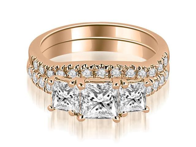 1.90 cttw. Lucida Three-Stone Princess Cut Bridal Set in 14K Rose Gold