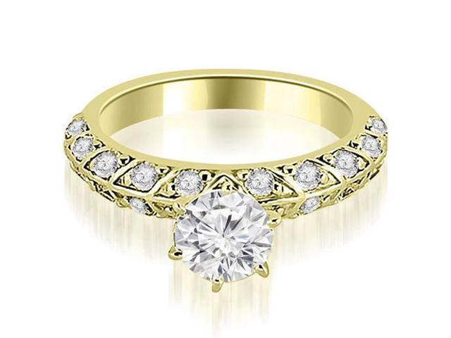 1.60 cttw. Antique Round Cut Diamond Engagement Ring in 18K Yellow Gold