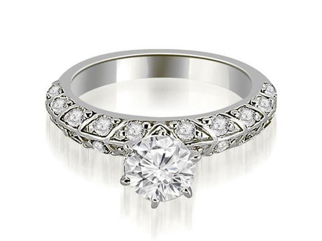 1.10 cttw. Antique Round Cut Diamond Engagement Ring in 14K White Gold