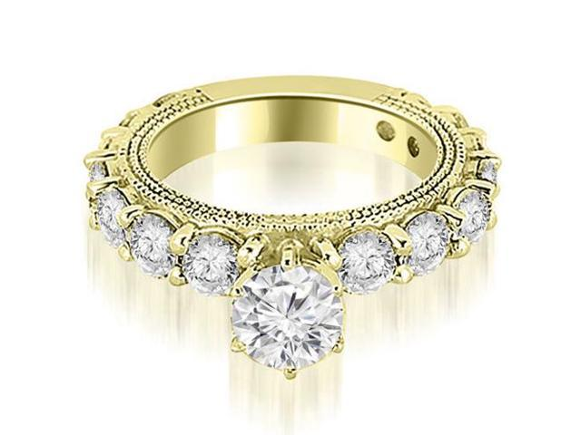2.10 cttw. Antique Round Cut Diamond Engagement Ring in 18K Yellow Gold