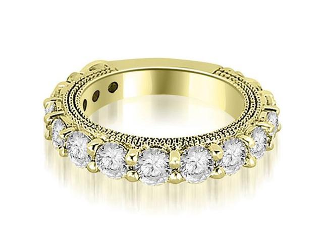 1.90 cttw. Antique Round Cut Diamond Wedding Band in 18K Yellow Gold