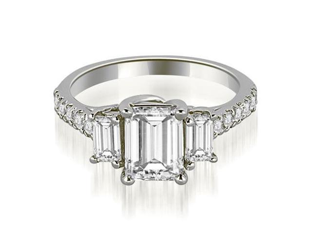 1.90 cttw. Lucida Three-Stone Diamond Emerald Cut Engagement Ring in 14K White Gold