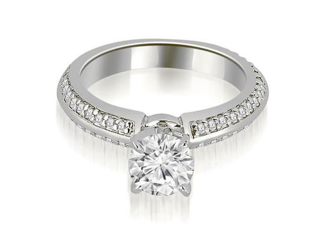 1.05 cttw. Knife Edge Round Cut Diamond Engagement Ring in 14K White Gold