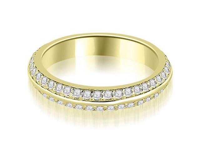 0.40 cttw. Knife Edge Round Cut Diamond Wedding Band in 18K Yellow Gold