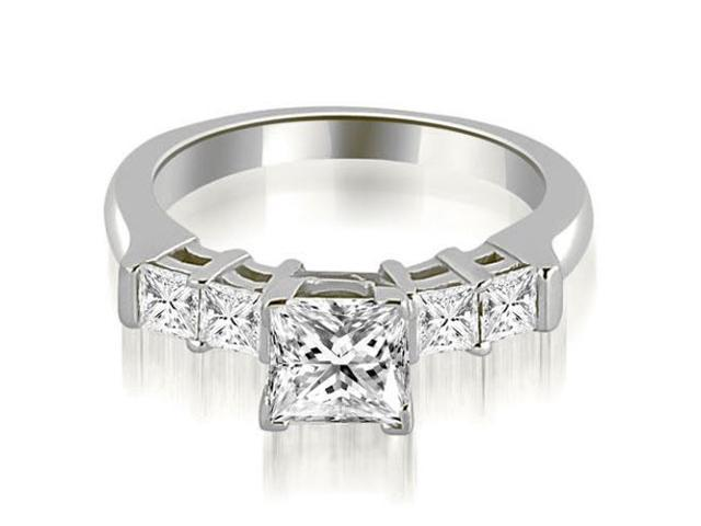 1.40 cttw. Princess Cut Diamond Engagement Ring in 14K White Gold