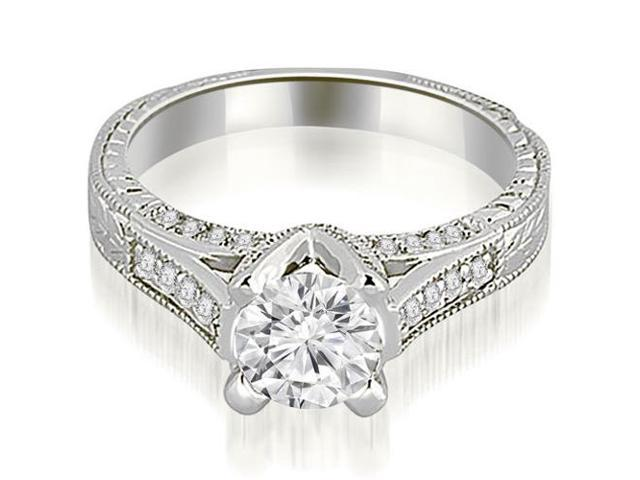 1.10 cttw. Antique Cathedral Round Cut Diamond Engagement Ring in 18K White Gold