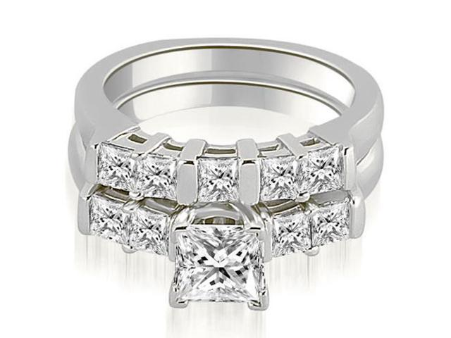 1.35 cttw. Princess Cut Diamond Engagement Bridal Set in 14K White Gold