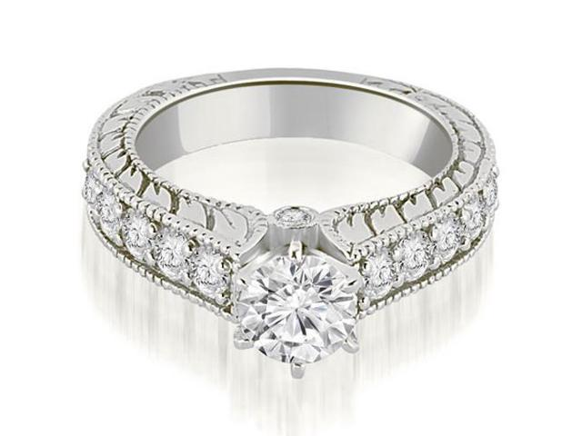 1.50 cttw. Antique Cathedral Round Cut Diamond Engagement Ring in 18K White Gold