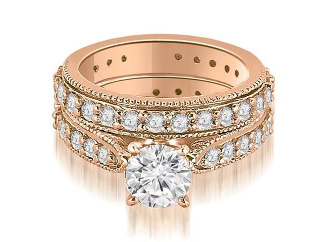1.95 cttw. Cathedral Round Cut Eternity Diamond Engagement Matching Set in 18K Rose Gold