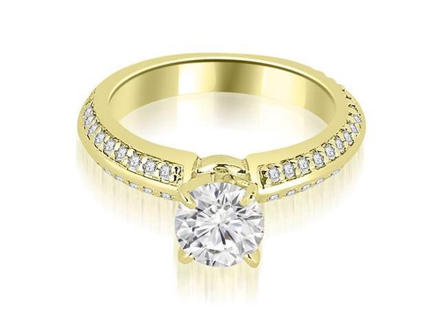 1.55 cttw. Knife Edge Round Cut Diamond Engagement Ring in 18K Yellow Gold