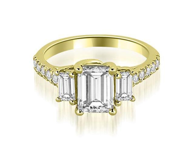 1.65 cttw. Lucida Three-Stone Diamond Emerald Cut Engagement Ring in 14K Yellow Gold