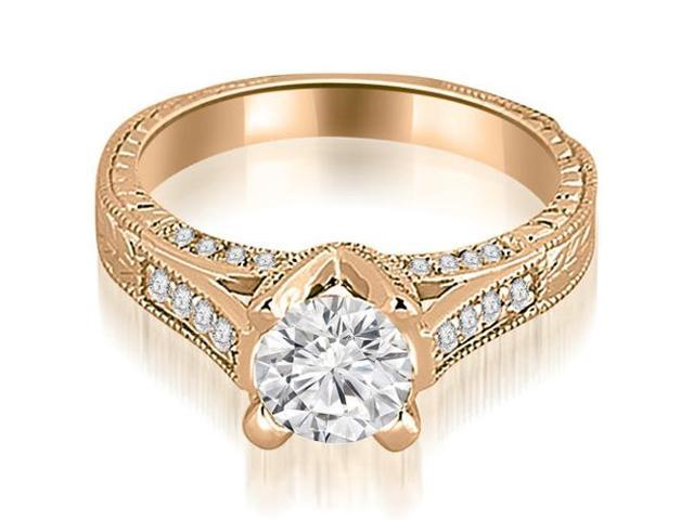 1.35 cttw. Antique Cathedral Round Cut Diamond Engagement Ring in 14K Rose Gold