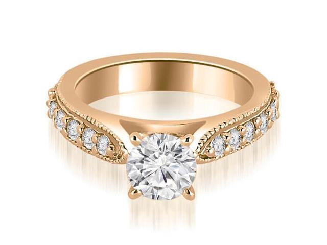1.20 cttw. Cathedral Round Cut Eternity Diamond Engagement Ring in 14K Rose Gold